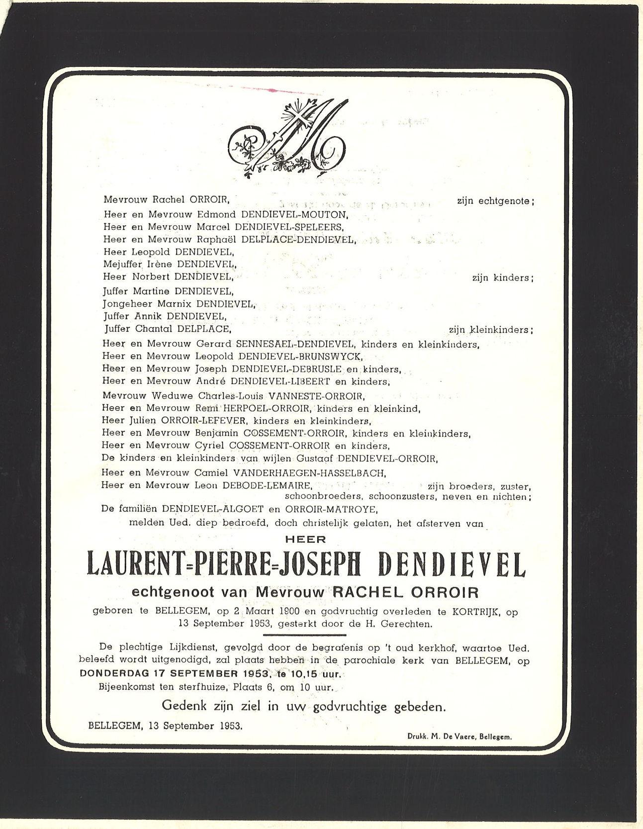 Dendievel Laurent-Pierre-Joseph